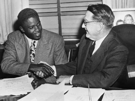 Jackie Robinson Shaking Branch Rickey's Hand