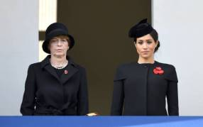LONDON, ENGLAND - NOVEMBER 11: Elke Budenbender and Meghan, Duchess of Sussex attend the annual Remembrance Sunday memorial at The Cenotaph on November 11, 2018 in London, England. The Armistice ending the First World War between the Allies and Germany was signed at Compiegne, France on eleventh hour of the eleventh day of the eleventh month - 11am on the 11th November 1918. This day is commemorated as Remembrance Day with special attention being paid for this yearÕs centenary. (Photo by Karwai Tang/WireImage)