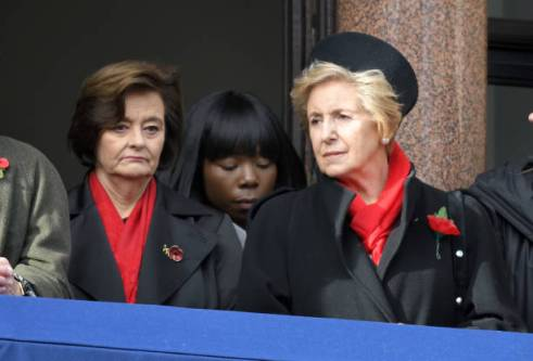 LONDON, ENGLAND - NOVEMBER 11: Cherie Blair and Norma Major attend the annual Remembrance Sunday memorial at The Cenotaph on November 11, 2018 in London, England. The Armistice ending the First World War between the Allies and Germany was signed at Compiegne, France on eleventh hour of the eleventh day of the eleventh month - 11am on the 11th November 1918. This day is commemorated as Remembrance Day with special attention being paid for this yearÕs centenary. (Photo by Karwai Tang/WireImage)