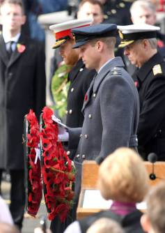 LONDON, ENGLAND - NOVEMBER 11: Prince Harry, Duke of Sussex and Prince William, Duke of Cambridge lay a wreath during the annual Remembrance Sunday memorial at The Cenotaph on November 11, 2018 in London, England. The Armistice ending the First World War between the Allies and Germany was signed at Compiegne, France on eleventh hour of the eleventh day of the eleventh month - 11am on the 11th November 1918. This day is commemorated as Remembrance Day with special attention being paid for this yearÕs centenary. (Photo by Karwai Tang/WireImage)