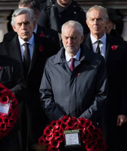 LONDON, ENGLAND - NOVEMBER 11: Gordon Brown, Jeremy Corbyn and Tony Blair attend the annual Remembrance Sunday memorial on November 11, 2018 in London, England. (Photo by Samir Hussein/Samir Hussein/WireImage)