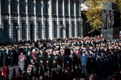 LONDON, ENGLAND - NOVEMBER 11: Veterans parade following the Remembrance Sunday memorial at the Cenotaph on Whitehall on November 11, 2018 in London, England. The armistice ending the First World War between the Allies and Germany was signed at Compiègne, France on eleventh hour of the eleventh day of the eleventh month - 11am on the 11th November 1918. This day is commemorated as Remembrance Day with special attention being paid for this year's centenary. (Photo by Jack Taylor/Getty Images)